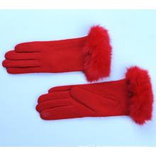 Mujeres / Señoras conejo rojo Guantes de piel de lana