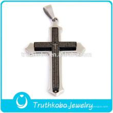 2012 Atacado Top Cristandade Jóias Moda Aço Inoxidável Polimento De Prata E Preto Banhado A Bíblia Verso Cruz Pingente