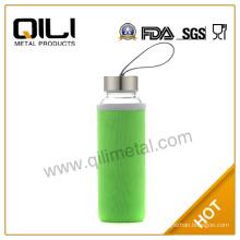 Green Charpie Sleeve Clear Glass Water Bottle