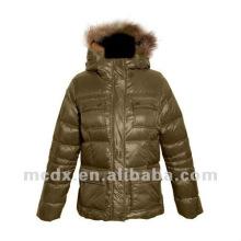 Nylon fabric women winter down coat with fur hood