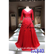 1A840 Romântico Red V-Neck Voltar Aberto Lace 3/4 Sleeve Trailed Ball Gown Evening Dress