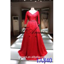 1A840 романтический Красный V-образным вырезом с открытой спиной кружева 3/4 рукав прицепной бальное платье вечернее платье