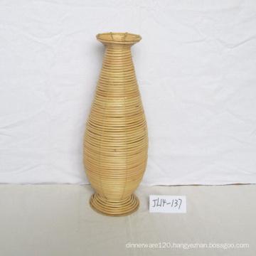 Round Natue Rattan Flower Vase