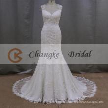 Nuevo diseño V-cuello sirena sin mangas piso vestido de novia de longitud