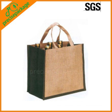 portable new material 6 bottle wine jute bag
