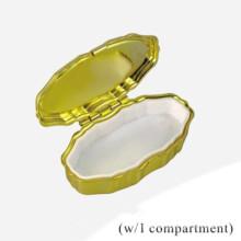 Gold überzogener kleiner ovaler Pille-Kasten (BOX-38)