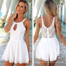 2015 Fashion Halter Lace Hollow out Women Chiffon Short Jumpsuit