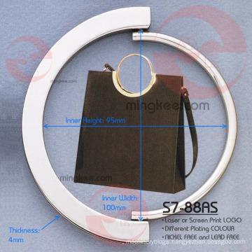 Fashionable Customised Large Cicle Shiny Metal Handle Bag