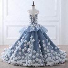TW0184 Flower Fairy Bege Appliques Vestido de casamento de luxo com fotos reais Royal Blue Wedding Gowns