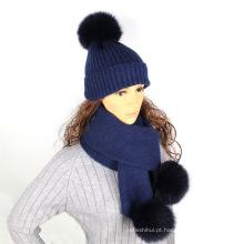 Lã de cor pura de malha chapéu cachecol com pele do falso pompons inverno pescoço mais quente das mulheres chapéu e lenço conjunto