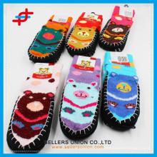 Детский картон маленький пивной зимний трикотажный супер толстый дом Крытый теплый анти-Slip носки