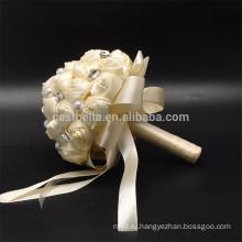 Романтический горячие продажа свадьба жемчуг искусственный цветной красивый свадебный букет
