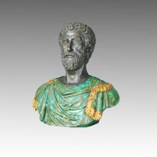 Bustos Estátua Filósofo Colorido Bronze Escultura TPE-111