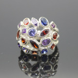 David Yurman Large Rhodalite Garnet Confetti Ring.Sterling Silver Jewelry