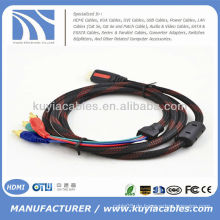 Konkurrenzfähiger Preis Gold-plated HDMI zu 3RCA Kabel Mann zum Mann