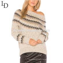 Новый комфортабельный стиль полосатый жаккард пуловер женщин кашемировый свитер