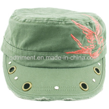 Schleifen gewaschene Tülle Niet Dekoration Stickerei Armee Military Cap (CSCM9452)