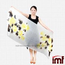 Cachemira de alta qualidade 100% cachemira de mulheres de impressão de flores amarelas e castanhas macias
