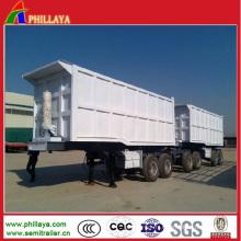Remorque hydraulique de cargaison de camion de dumping double avec 40cbmx2dumpers