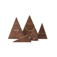 Conjunto de expositor de madeira em triângulo pirâmide