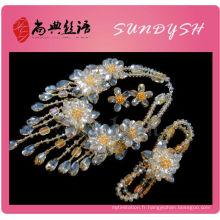 Gros or cristal collier en cristal braclet boucle d'oreille ensemble de bijoux