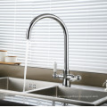 Two Lever Brass Swivel Kitchen Sink Water Mixer