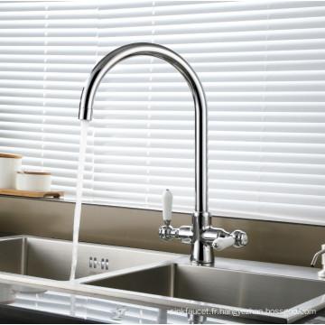 Robinet d'eau d'évier de cuisine en céramique avec poignée à deux poignées