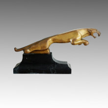 Animal Branze Garden Sculpture Grand Statue en laiton doré Léopard Tpal-288
