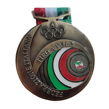 Custom Kompetisi Antique Gold Medals With Ribbon