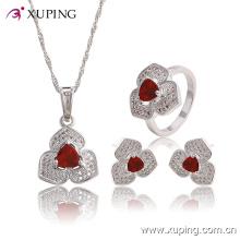 Mode élégant diamant CZ en forme de coeur rhodium ensemble de bijoux pour le mariage ou la fête 63767