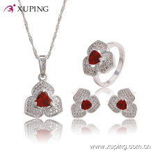 Fashion Elegant CZ Diamond Heart-Shaped Rhodium Jewelry Set for Wedding or Party 63767