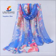 Lingshang newest designs flower print grils scarf gauze shawl magic chiffon pashmina hijab scarf