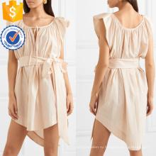 Бежевый Cap рукав асимметричный Подол Плиссированные мини-летнее платье с поясом оптом производство модной женской одежды (TA0279D)