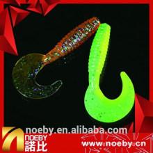 Larves de pêche en plastique doux de 7 cm à double couleur