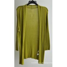 Frauen-lange Hülse offene reine Farbe Strick-Wolljacke