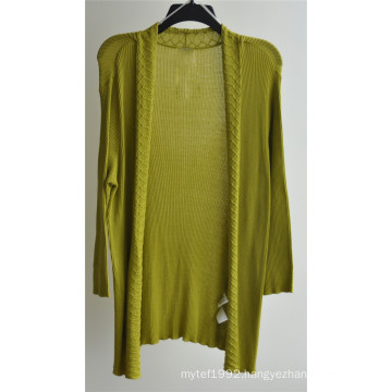 Women Long Sleeve Open Pure Color Knit Cardigan