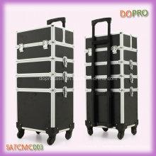 Noir 4 en 1 professionnel Trolley Trousse à maquillage (SATCMC003)