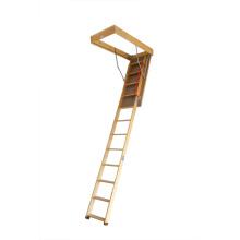 Escalera plegable de madera de lujo del desván