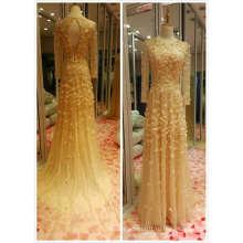 Золото лучшие продажи с длинным рукавом Русалка ЕС 32-40 тяжелых бисером вечернее платье