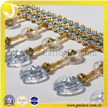 2014 China Alibaba de oro de seda en forma de corazón franja de cuentas cortina hecha a mano del grano