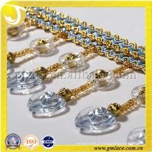 2014 China Alibaba Seda dourada em forma de coração Beaded Fringe Handmade Bead Curtain