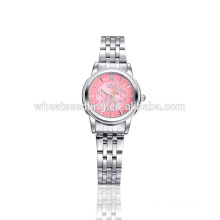 pink face three eyes stainless steel fashion lady hand watch
