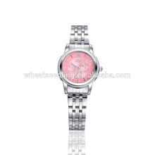 Розовое лицо три глаза нержавеющая сталь мода леди рука часы
