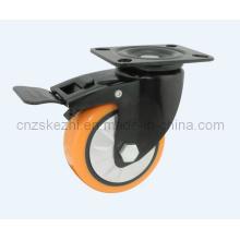 Mh1 Med-Heavy Duty Brake Type Double Ball Bearing Black PU Wheel Caster