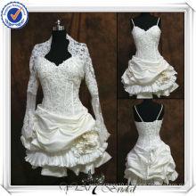 JJ0093 Sweetheart decote cetim de renda manga longa vestido de casamento curto com jaqueta