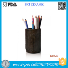 Brown Cylindrical Home Decorative Ceramic Pen Container