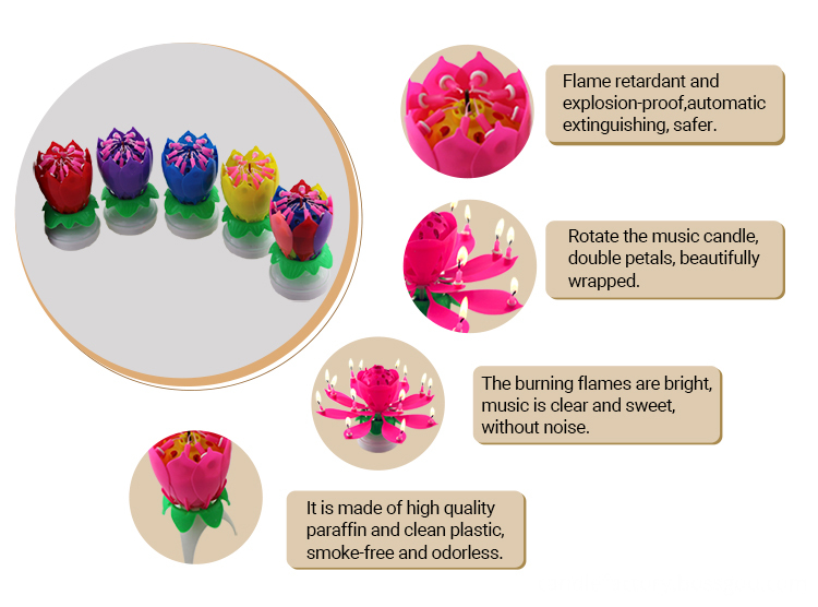 4 birthday flower musical candle