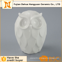 Hochwertige weiße keramische Eulen-Figur für Hauptdekoration