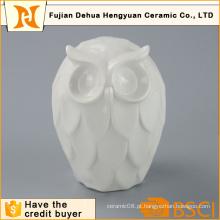 Alta qualidade branco Figurine coruja de cerâmica para decoração de casa