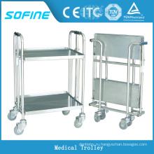 SF-HJ2770 нержавеющая сталь больничная тележка для тележек